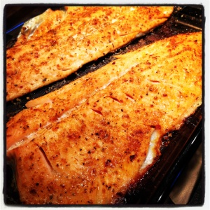 Baked Cajun Rubbed Rainbow Trout - Ruby fleshed