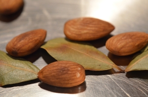 Roasting almonds & bay leaves